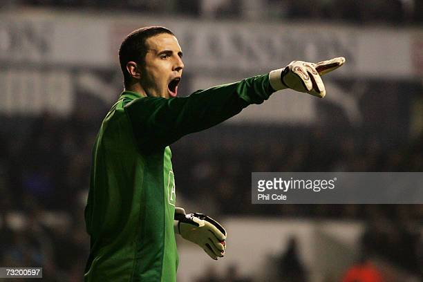 John O'Shea of Manchester United who filled in for the injued Edwin Van Der Sar scream instructions to team mates during the Barclays Premiership...
