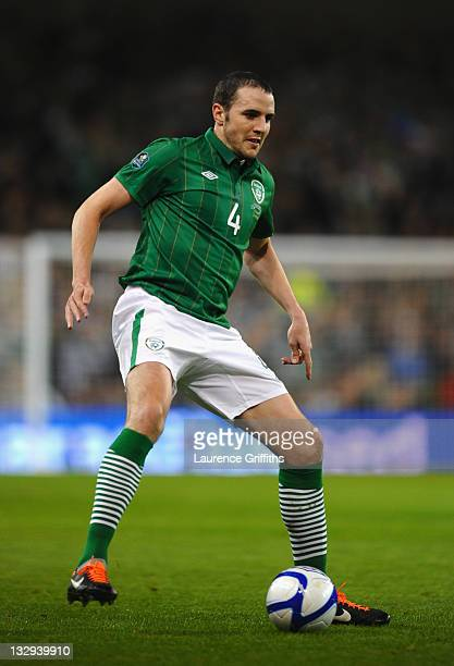 John O'Shea of Republic of Ireland in action during the EURO 2012 Qualifier Play Off Second Leg match between Republic of Ireland and Estonia at...