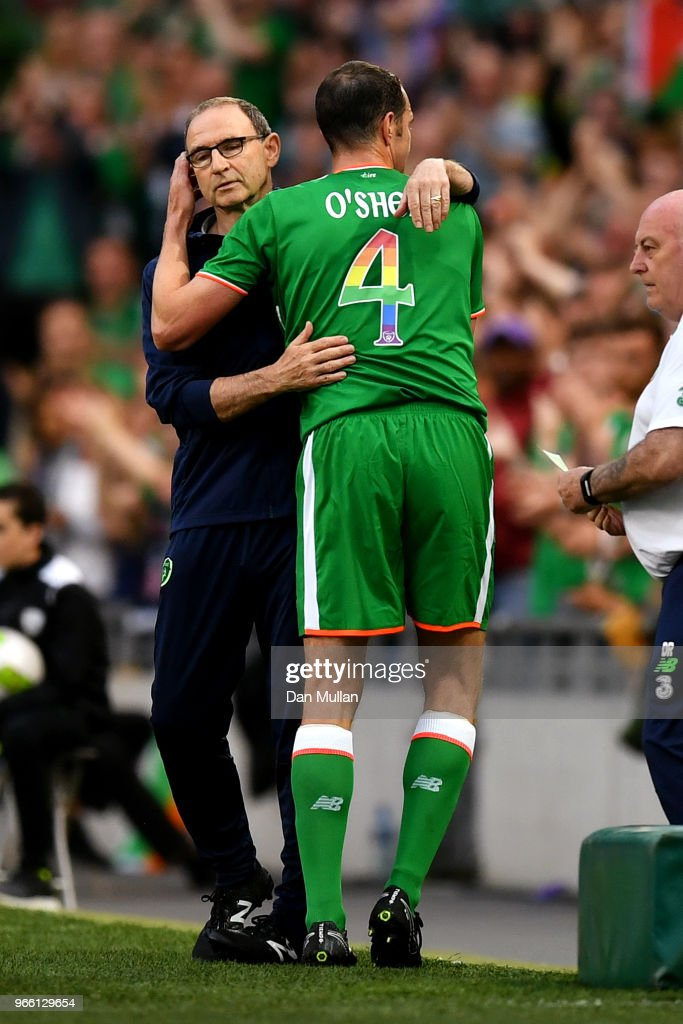 John O'Shea of the Republic of Ireland hugs Martin O'Neill, Manager of The Republic of Ireland as he is substituted off for the final time during the International Friendly match between the Republic of Ireland and The United States at Aviva Stadium on June 2, 2018 in Dublin, Ireland.