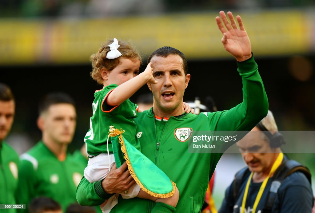 John O'Shea of the Republic of Ireland waves goodbye to the fans ahead of his final game during the International Friendly match between the Republic of Ireland and The United States at Aviva Stadium on June 2, 2018 in Dublin, Ireland.