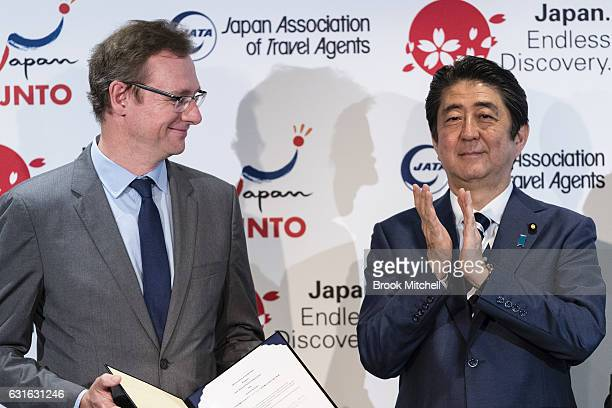 John O'Sullivan head of tourism Australia with Japanese Prime Minister Shinzo Abe at the Hilton Hotel on January 14 2017 in Sydney Australia The...
