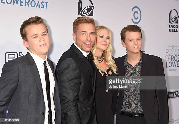 John Owen Lowe actor/honoree Rob Lowe wife/makeup artist Sheryl Berkoff and son Matthew Edward Lowe attend The Comedy Central Roast of Rob Lowe at...