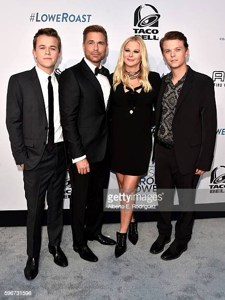 John Owen Lowe honoree Rob Lowe makeup artist Sheryl Berkoff and Matthew Edward Lowe attend The Comedy Central Roast of Rob Lowe at Sony Studios on...