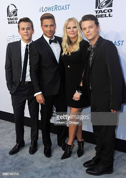 R John Owen Lowe honoree Rob Lowe makeup artist Sheryl Berkoff and Matthew Edward Lowe arrives for The Comedy Central Roast Of Rob Lowe held at Sony...