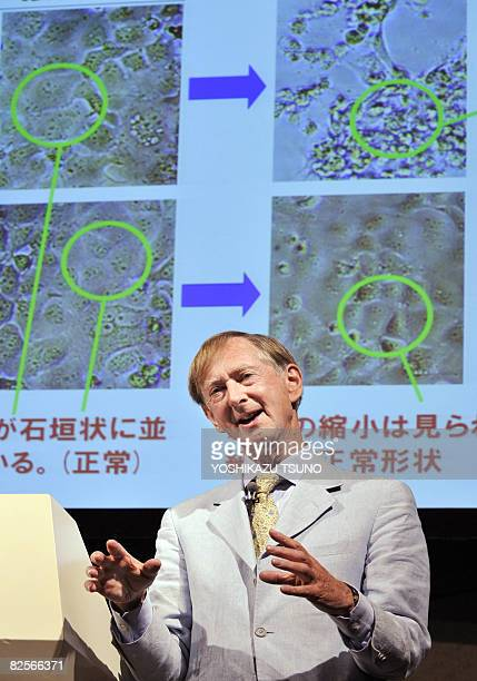 John Oxford University of London professor and head of Retroscreen Virology a British research institute speaks at a press conference in Tokyo on...