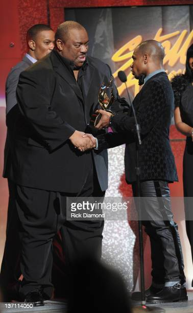 John P Kee accepts The Allstate James Cleveland Lifetime Achievement Award from Kirk Franklin during the 27th Annual Stellar Awards at the Grand Ole...