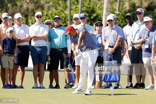 John Pak of Team USA plays his shot from the third tee during Saturday singles matches of Day One of The Walker Cup at Seminole Golf Club on May 08,...