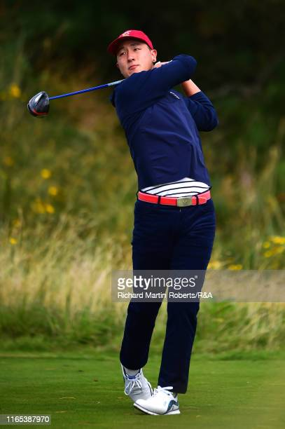 John Pak of the United States tees off during a practice round at Royal Birkdale Golf Club prior to the 2019 Walker Cup on September 1 2019 in...