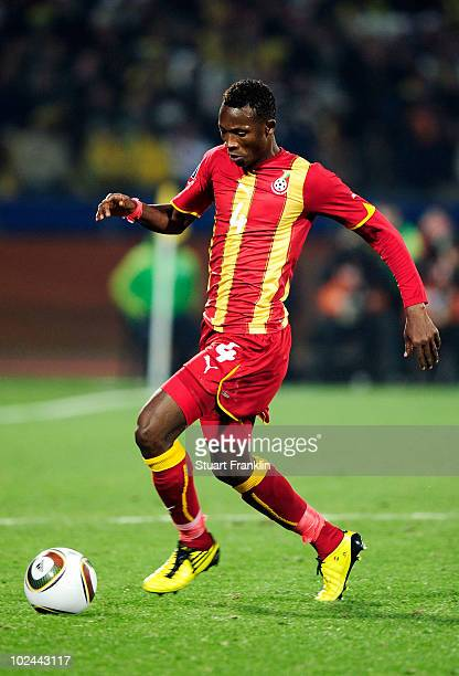 John Pantsil of Ghana in action during the 2010 FIFA World Cup South Africa Round of Sixteen match between USA and Ghana at Royal Bafokeng Stadium on...