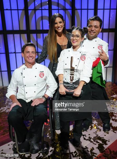 John Pardo Gaby Espino Lauren Arboleda and Javier Seanez are seen during the MasterChef Latino Season 2 Grand Finale at Telemundo Center on March 26...