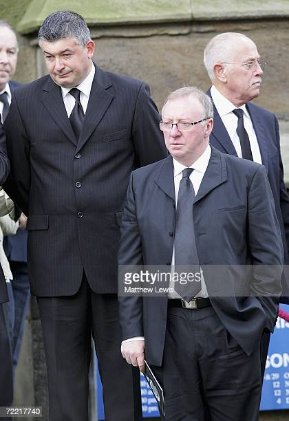 John Parrot and Dennis Taylor leave the funeral of Paul Hunter at Leeds Parish Church on October 19, 2006 in Leeds, England. The three-time Masters...