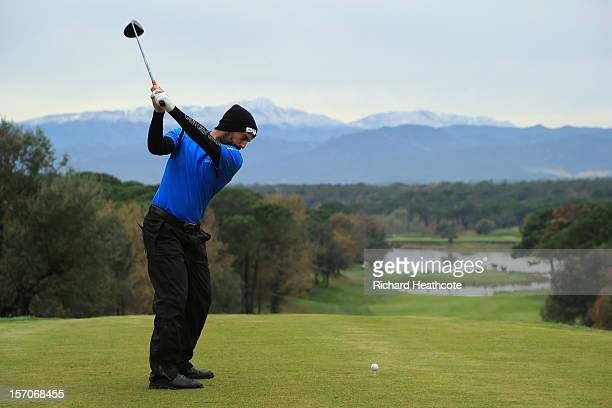 John Parry of England tee's off at the 13th during the fifth round of the European Tour Qualifying School Finals at PGA Catalunya Resort on November...
