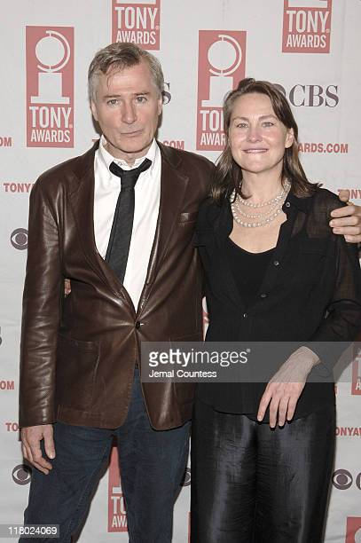John Patrick Shanley and Cherry Jones during 59th Annual Tony Awards 'Meet The Nominees' Press Reception at The View at The Marriot Marquis in New...
