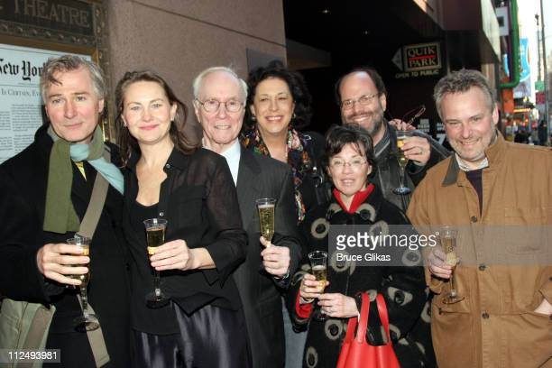 John Patrick Shanley playwright of 'Doubt' with Cherry Jones Roger Berlind Lynn Meadow Scott Rudin Carole Shorenstein Haysproducers and Doug Hughes...