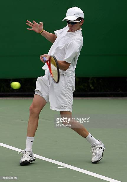John PatrickSmith of Australia plays a forehand in his match against Luka Belic of Croatia during the Australian Open Junior Championship at...