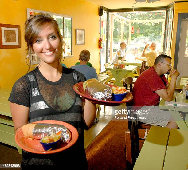 Wednesday July 2 2008 Server Julia Forbush serves burritos at Burrito in Westbrook