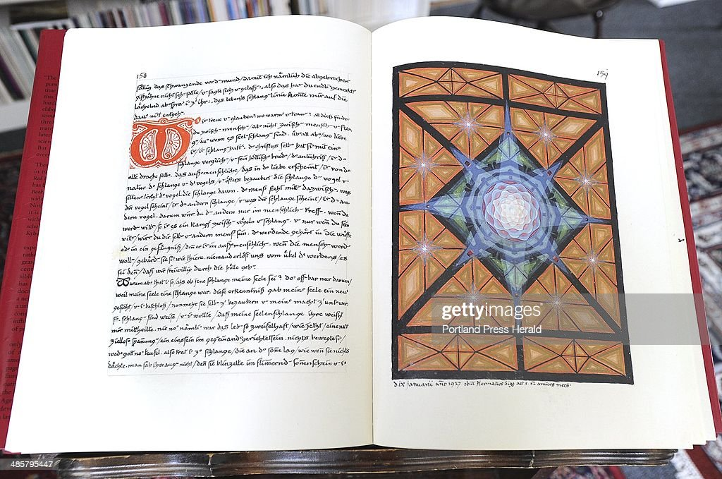 Illustration called Centering Mandala in The Red Book at the Jung center in Brunswick. : News Photo