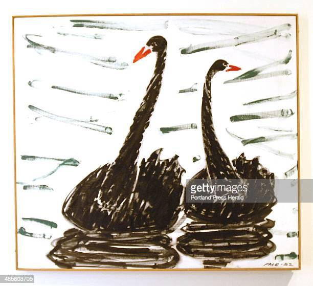 John Patriquin/Staff Photographer Tuesday September2009 Two Black Swans on exhibit at the new Pace Gallery at the Leura Hill Eastman Performing Arts...