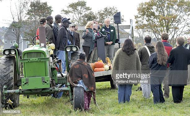John Patriquin/Staff PhotographerMonday Oct24 2011 Surrounded by local farmers Congresswoman Chellie Pingree announces a major agriculture reform...