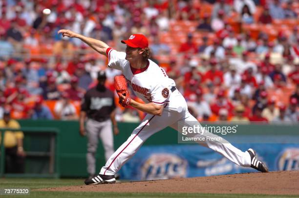 John Patterson of the Washington Nationals pitches against the Florida Marlins during their Opening Day game on April 2 2007 at RFK Stadium in...