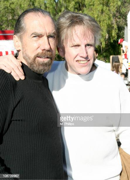 John Paul DeJoria and Gary Busey during Snowy Christmas Eve in Malibu December 24 2005 at Private Residence in Malibu CA United States