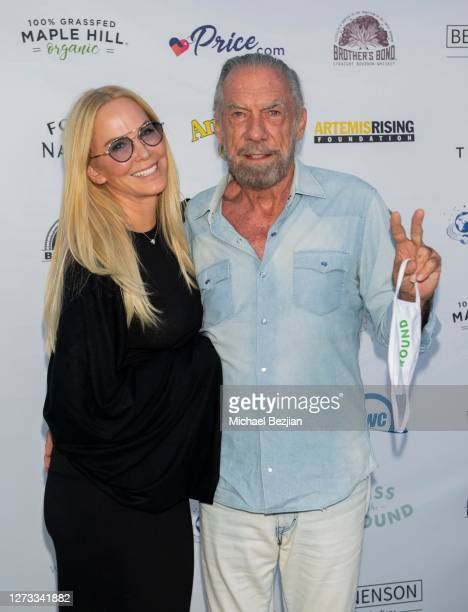 John Paul DeJoria and Rebecca Harrell attend Kiss The Ground Los Angeles DriveIn Special Screening at Andaz West Hollywood on September 17 2020 in...