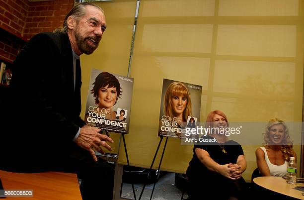 John Paul Dejoria, cofounder and CEO of John Paul Mitchell Systems hair care products talks with L to R Lesly Mc Grew , Hair stylist and Heather Clay...