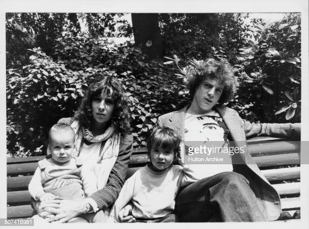 John Paul Getty III with his wife Martine and children Balthazar and Anna on a park bench in a secret location in London June 7th 1976