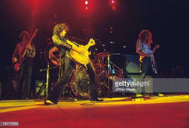 John Paul Jones, Jimmy Page and Robert Plant of Led Zeppelin at the Inglewood Forum in Los Angeles, California