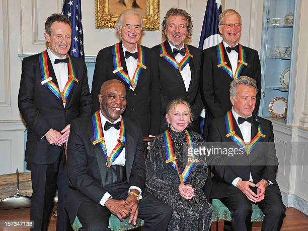 John Paul Jones Jimmy Page Robert Plant David Letterman US Secretary of State Hillary Rodham Clinton Buddy Guy Natalia Makarova Dustin Hoffman pose...