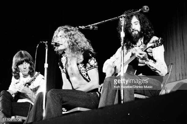 John Paul Jones Robert Plant and Jimmy Page of Led Zeppelin performing on stage at Hiroshima Prefectural gymnasium Hiroshima Japan 27th September 1971