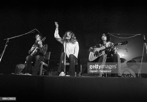 John Paul Jones Robert Plant and Jimmy Page of Led Zeppelin perform on stage at Oude Rai on 27th May 1972 in Amsterdam Netherlands