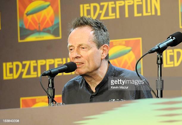 John Paul Jones speaks at the Led Zeppelin Celebration Day Press Conference on October 9 2012 in New York City Led Zeppelin's John Paul Jones Jimmy...