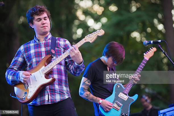 John Paul Pitts and Thomas Fekete of Surfer Blood perform on stage during Summer Camp hosted by 1077 The End at Marymoor Park on August 10 2013 in...