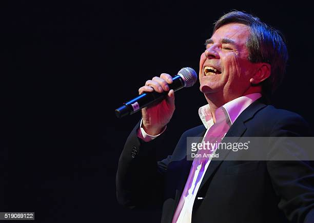 John Paul Young performs live during a public memorial service for Jon English at Capitol Theatre on April 4 2016 in Sydney Australia The singer...