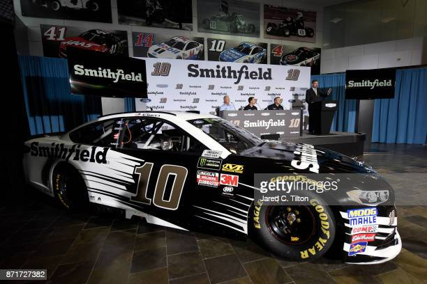 John Pauley Executive Vice President of Sales and Marketing for Smithfield NASCAR driver Aric Almirola and Tony Stewart coowner of StewartHaas Racing...