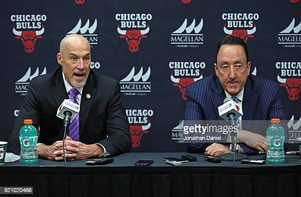 John Paxson Vice President of Basketball Operations and Gar Forman General Manager of the Chicago Bulls address the media following the Bulls last...