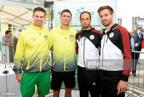 John Peers and Matthew Ebden of Australia with Tim Putz and Peter Gojowczyk of Germany pose for a photo during the official draw ahead of the Davis...