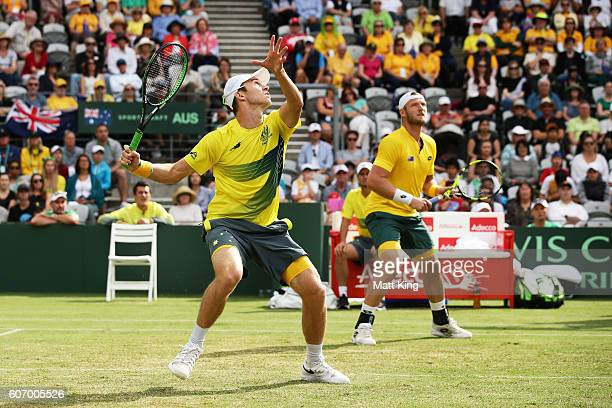 John Peers and Sam Groth of Australia play in the doubles match against Andrej Martin and Igor Zelenay of Slovakia during the Davis Cup World Group...
