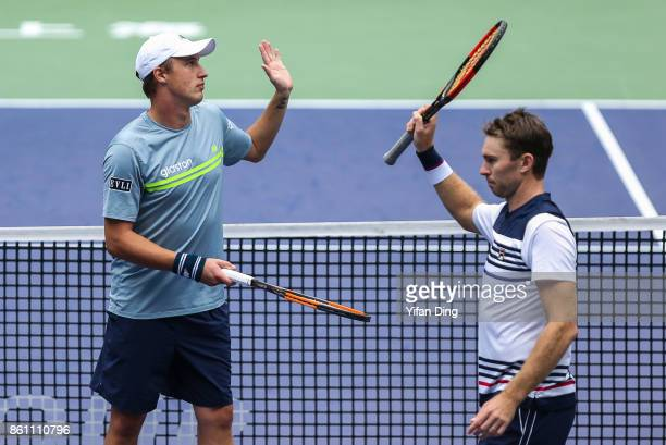 John Peers of Australia and Henri Kontinen of Finland celebrate after winning the Men's doubles semifinal match against Jamie Murray of United...