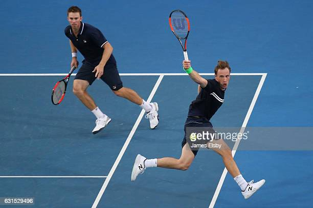 John Peers of Australia and Henri Kontinen of Finland compete during their World Tennis Challenge match against Daniel Nestor of Canada and Edouard...