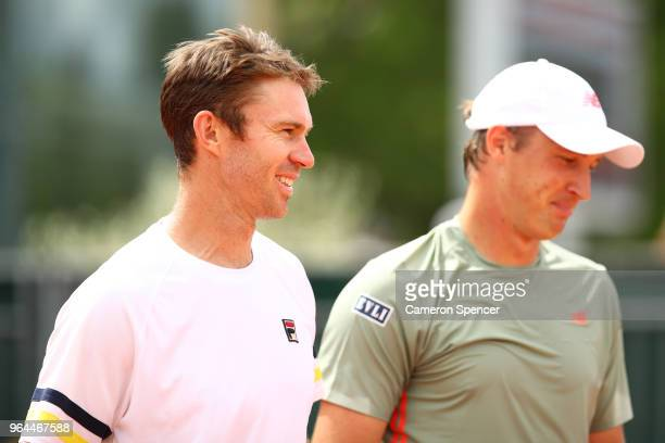 John Peers of Australia and partner Henri Kontinen of Finland in action during their mens doubles first round match against Damir Dzumhur of Bosnia...