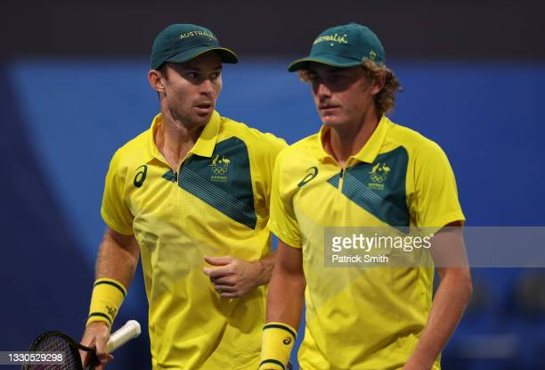 John Peers of Team Australia and Max Purcell of Team Australia during their Men's Doubles First Round match against Tennys Sandgren of Team USA and...