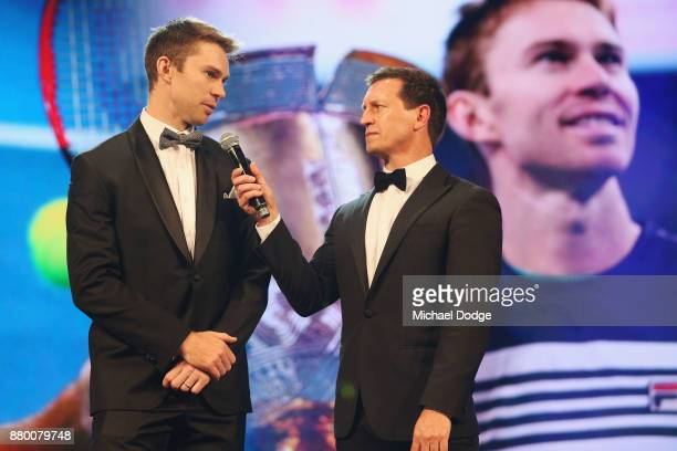 John Peers with host Rove McManus at the 2017 Newcombe Medal at Crown Palladium on November 27 2017 in Melbourne Australia