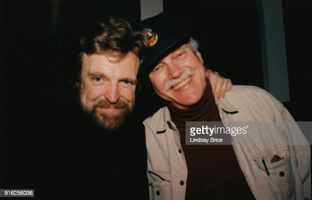 John Perry Barlow and Ram Dass smile together at Sparky's restaurant following the memorial service for Timothy Leary that was held at the Unitarian...