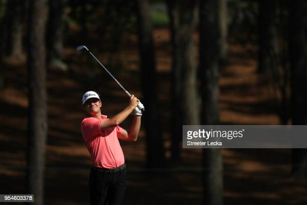 John Peterson plays a shot on the fifth hole during the second round of the 2018 Wells Fargo Championship at Quail Hollow Club on May 4 2018 in...