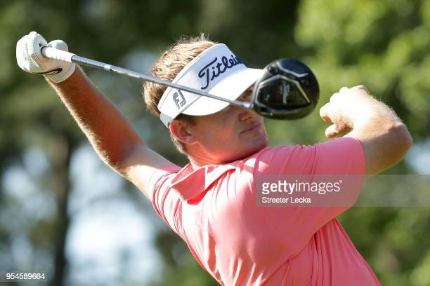 John Peterson plays his tee shot on the third hole during the second round of the 2018 Wells Fargo Championship at Quail Hollow Club on May 4 2018 in...