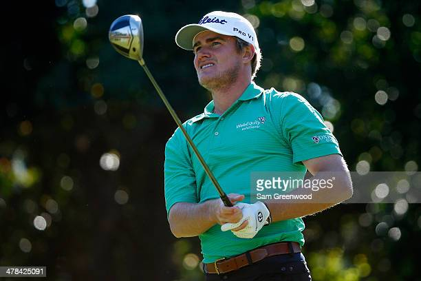 John Peterson watches his tee shot on the 9th hole during the first round of the Valspar Championship at Innisbrook Resort and Golf Club on March 13...