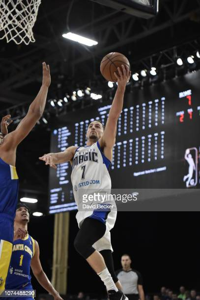 John Petrucelli of the Lakeland Magic drives to the basket against the Santa Cruz Warriors during the NBA G League Winter Showcase on December 20,...