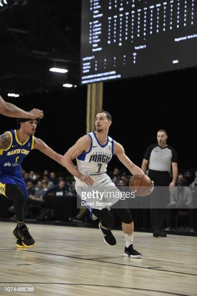 John Petrucelli of the Lakeland Magic handles the ball against the Santa Cruz Warriors during the NBA G League Winter Showcase on December 20, 2018...